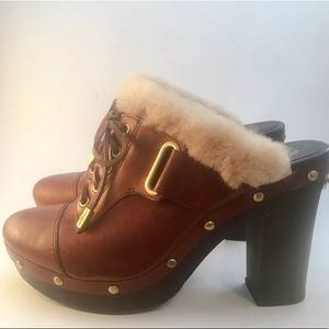 Vince Camuto Brown Block Heel Mules Size 8.5